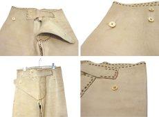 画像4: 1970's USA ELK HIDE Leather Pants -hand made & hand stitch- BEIGE size w 32 inch (4)