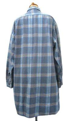 画像2: OLD French Cotton Pullover Long Shirts BLUE系 size L (2)