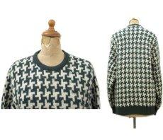 """画像2: 1960's """"BROADWAY"""" Houndstooth Wool Sweater Green / Natural size S (表記 不明) (2)"""