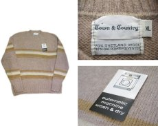 "画像3: ""TOWN & COUNTRY"" Shetland Wool Crew Neck Sweater Dead Stock BEIGE size L (表記 XL) (3)"