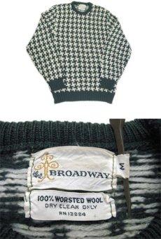 """画像3: 1960's """"BROADWAY"""" Houndstooth Wool Sweater Green / Natural size S (表記 不明) (3)"""