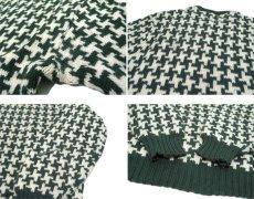 """画像4: 1960's """"BROADWAY"""" Houndstooth Wool Sweater Green / Natural size S (表記 不明) (4)"""