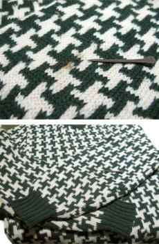 """画像7: 1960's """"BROADWAY"""" Houndstooth Wool Sweater Green / Natural size S (表記 不明) (7)"""