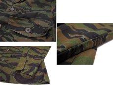画像4: Tiger Stripe Camouflage L/S Shirts one-washed Olive / Black / Brown size S - M (表記 14 1/2) (4)