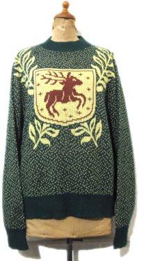 """画像1: 1950-60's """"Brian Mat Neil"""" Wool Nordic Sweater GREEN size M (表記 L) (1)"""