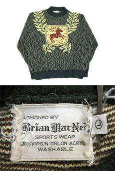 """画像2: 1950-60's """"Brian Mat Neil"""" Wool Nordic Sweater GREEN size M (表記 L) (2)"""