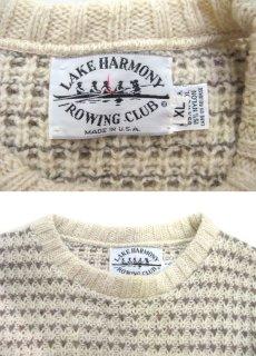 """画像3: """"LAKE HARMONY ROWING CLUB"""" Wool Sweater -made in USA- Off White / Beige size L (表記 XL) (3)"""