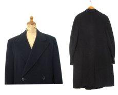 """画像2: 1960's """"Morris & Sons"""" Double Breasted Cashmere Coat BLACK size M - L (表記 不明) (2)"""