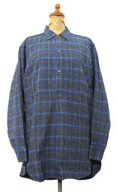 画像1: 1960's~ Europe L/S Pullover Long Shirts BLUE size M - L (1)
