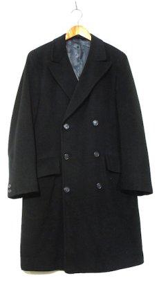 """画像1: 1960's """"Morris & Sons"""" Double Breasted Cashmere Coat BLACK size M - L (表記 不明) (1)"""