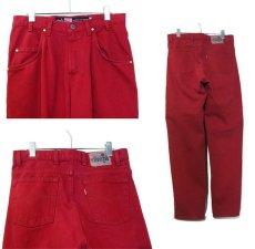 """画像2: 1990's Levi's """"Silver Tab"""" BAGGY Tuck Denim Pants Red size w 32 inch (表記 31 x 30) (2)"""