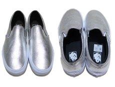 """画像3: NEW """"VANS"""" Metallic Leather Slip-On Sneaker SILVER size 10 (28cm) (3)"""
