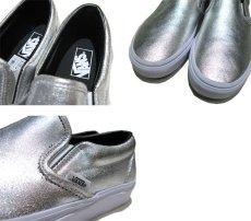 """画像4: NEW """"VANS"""" Metallic Leather Slip-On Sneaker SILVER size 10 (28cm) (4)"""