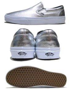 """画像2: NEW """"VANS"""" Metallic Leather Slip-On Sneaker SILVER size 10 (28cm) (2)"""