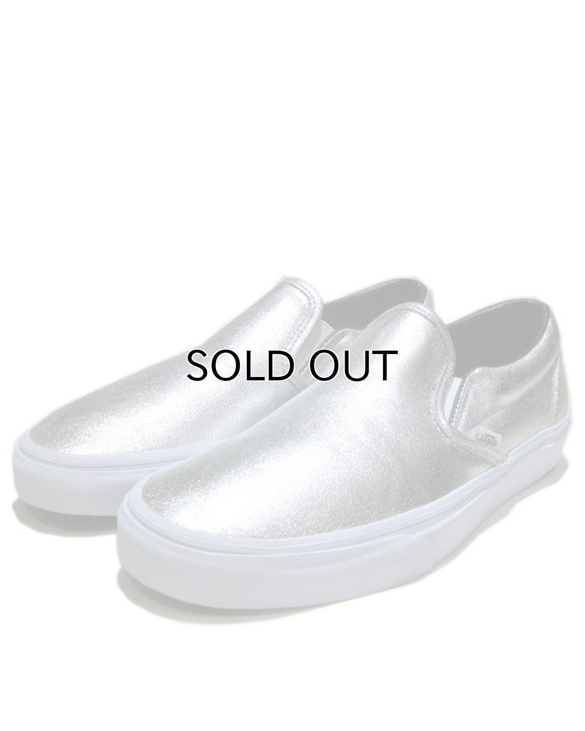 """画像1: NEW """"VANS"""" Metallic Leather Slip-On Sneaker SILVER size 10 (28cm) (1)"""