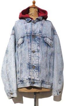 """画像1: 1990's Levi's """"75076"""" Chemical Wash Denim Jacket with Sweat  made in CANADA Blue size XL (表記 L) (1)"""