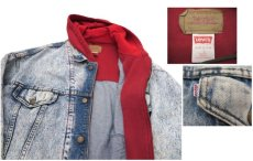 """画像4: 1990's Levi's """"75076"""" Chemical Wash Denim Jacket with Sweat  made in CANADA Blue size XL (表記 L) (4)"""