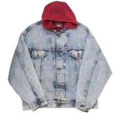 """画像3: 1990's Levi's """"75076"""" Chemical Wash Denim Jacket with Sweat  made in CANADA Blue size XL (表記 L) (3)"""