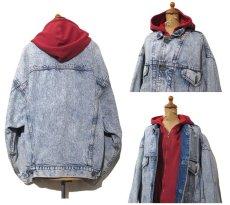 """画像2: 1990's Levi's """"75076"""" Chemical Wash Denim Jacket with Sweat  made in CANADA Blue size XL (表記 L) (2)"""