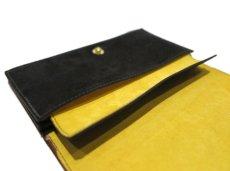"""画像8: """"JUTTA NEUMANN"""" Leather Wallet """"the Waiter's Wallet""""  -Suede-  color : Suede Black / Yellow (8)"""