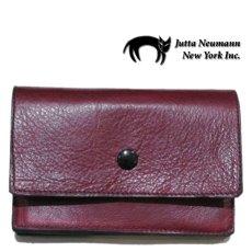 """画像1: """"JUTTA NEUMANN"""" Leather Wallet """"the Waiter's Wallet"""" Medium Size color : Burgundy / Yellow (1)"""