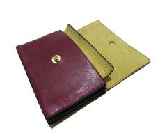 """画像7: """"JUTTA NEUMANN"""" Leather Wallet """"the Waiter's Wallet"""" Medium Size color : Burgundy / Yellow (7)"""