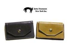 """画像9: """"JUTTA NEUMANN"""" Leather Card Case with Change Parse color : Charcoal / Yellow Green (9)"""
