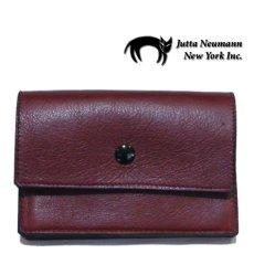 """画像1: """"JUTTA NEUMANN"""" Leather Wallet """"the Waiter's Wallet"""" Medium Size color : Burgundy / Turquoise Blue (1)"""
