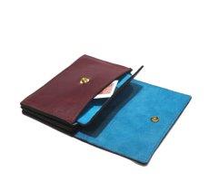 """画像6: """"JUTTA NEUMANN"""" Leather Wallet """"the Waiter's Wallet"""" Medium Size color : Burgundy / Turquoise Blue (6)"""