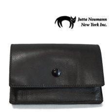 """画像1: """"JUTTA NEUMANN"""" Leather Wallet """"the Waiter's Wallet"""" Medium Size color : Black / Lime Green (1)"""