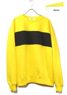 """画像1: Riprap """"Super Soft Loopwheel Switching Crew Sweat Shirts """"  color : LEMON/BLACK (1)"""