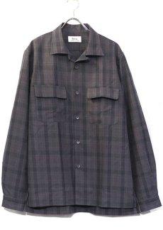 """画像1: Riprap """"Cotton Weather Tartan Check Semi Open Collar Shirt""""  color : CHARCOAL/PURPLE size LARGE (1)"""