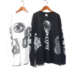 "画像2: NEW ""M.C. Escher"" Multi Print L/S T-Shirts color : WHITE, BLACK size S, M, L (2)"