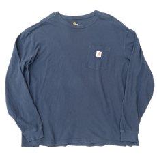 "画像2: Carhartt  L/S Pocket T-Shirt with ""Back Print"" NAVY size XXL(表記XXL) (2)"