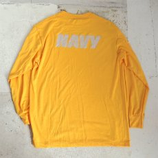 画像4: U.S. NAVY  L/S Training T-Shirt -Reflector Print- YELLOW size SMALL, MEDIUM (4)