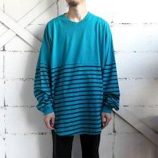 画像2: SPIRIT JERSEY Border L/S T-Shirt GREEN/NAVY size M, XXL (2)