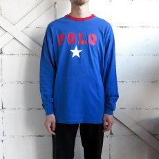 画像2: 1980's~ Polo by Ralph Lauren(ラルフローレン) Logo Print L/S T-Shirt BLUE/RED size M(表記XL) (2)