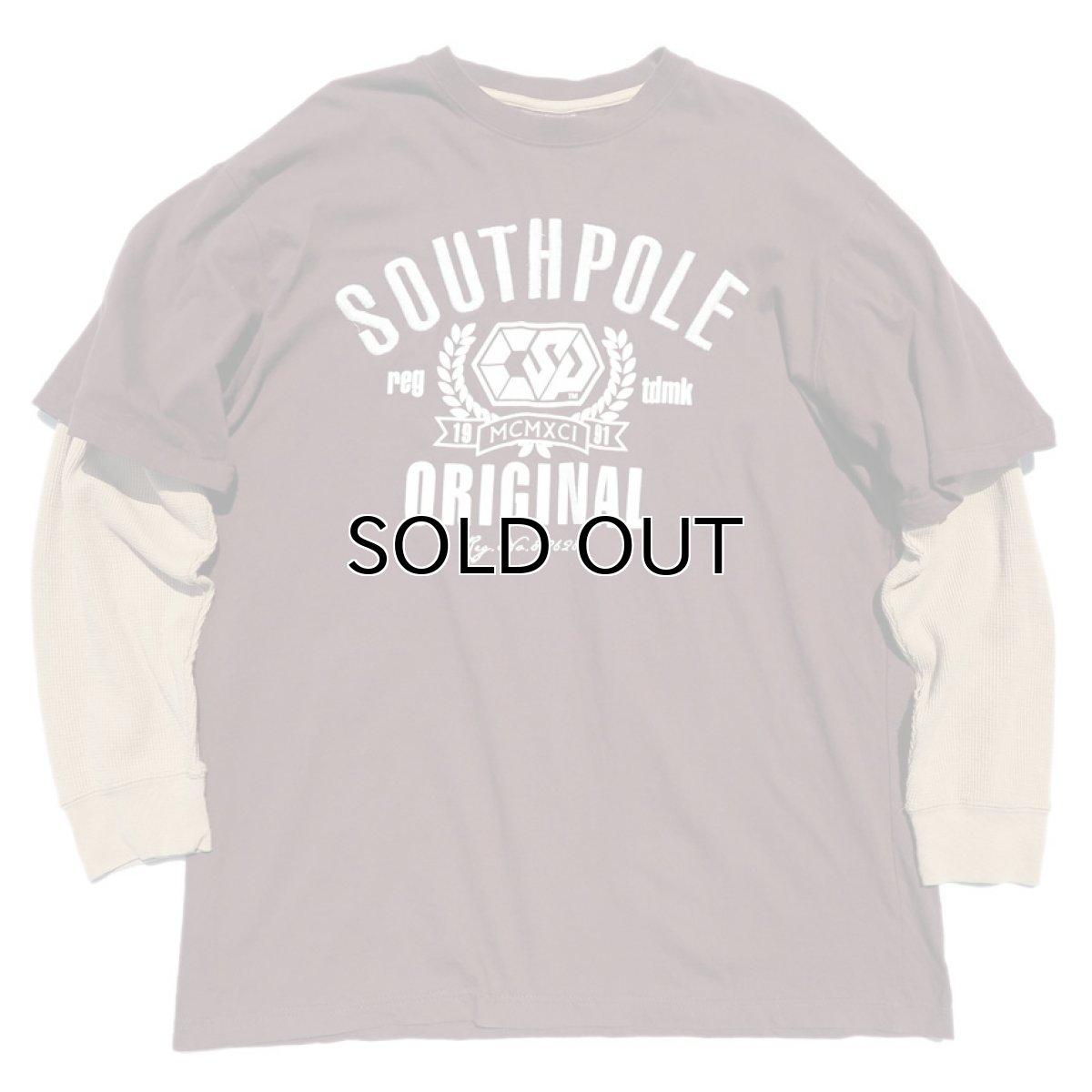 画像1: SOUTHPOLE L/S Layered Print T-Shirt BROWN size XXL(表記XXL) (1)
