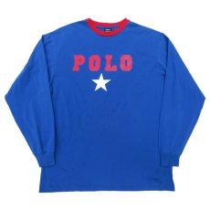 画像1: 1980's~ Polo by Ralph Lauren(ラルフローレン) Logo Print L/S T-Shirt BLUE/RED size M(表記XL) (1)
