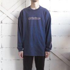 画像2: 1990's~ QUIKSILVER Logo Print L/S T-Shirt NAVY/L.GREY size L(表記XL) (2)