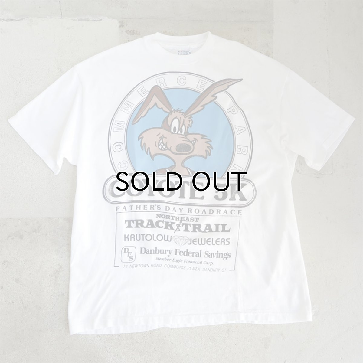 """画像1: 1980's Hanes BEEFY """"COYOTE 5K"""" Print T-Shirt WHITE size L-XL(表記XL) (1)"""