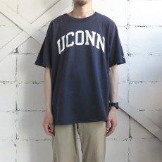 """画像2: 1990's~ Champion """"UCONN"""" College Print T-Shirt NAVY size L(表記L) (2)"""