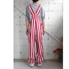 """画像9: """"GAME BIBS"""" Fat Stripe Cotton Twill Overall WHITE/RED size L (9)"""