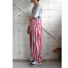 """画像10: """"GAME BIBS"""" Fat Stripe Cotton Twill Overall WHITE/RED size L (10)"""