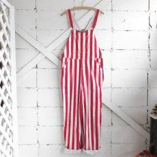 """画像2: """"GAME BIBS"""" Fat Stripe Cotton Twill Overall WHITE/RED size L (2)"""