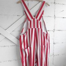 """画像4: """"GAME BIBS"""" Fat Stripe Cotton Twill Overall WHITE/RED size L (4)"""