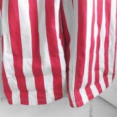 """画像5: """"GAME BIBS"""" Fat Stripe Cotton Twill Overall WHITE/RED size L (5)"""
