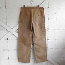 """画像2: 1970's """"Carhartt"""" Duck Canvas Double Knee Painter Pants FADE BRWON size W34INCH (2)"""