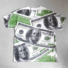 """画像3: Hanes """"100 DOLLARS"""" All Over Print T-Shirt WHITE size L (3)"""
