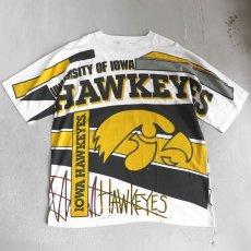 """画像1: 1990's """"IOWA HAWKEYES"""" All Over Print T-Shirt WHITE size XXL (1)"""